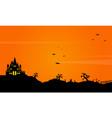 halloween landscape background with castle vector image vector image