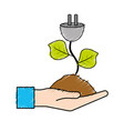 hand with power cable plant with leaves and ground vector image vector image