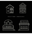 Houses Set drawn white outline on a black vector image vector image