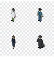 isometric human set of doctor officer detective vector image vector image