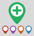 map pointer with hospital icon on gray background vector image