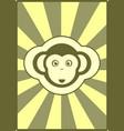 monkey icon on sun burst background vector image
