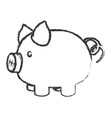 monochrome blurred silhouette of piggy bank vector image vector image