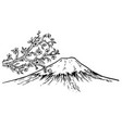 mount fuji japan cherry blossom engraving vector image