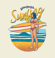 retro design girl holding surf board vector image vector image