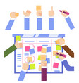 scrum task board concept with human hands sticking vector image vector image