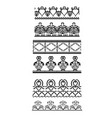 seamless black and white border of lace on a white vector image vector image