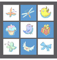 set of cute birthday cards or prints with birds vector image vector image