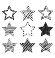 Set of hand-drawn textures star shapes vector image vector image