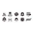set vintage badge patch emblem hockey sport logo vector image vector image