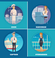 ship crew 4 icons square vector image vector image