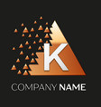 silver letter k logo symbol in the triangle shape vector image vector image