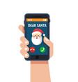 smart phone in hand santa claus calls vector image vector image