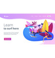 surfing school concept landing page vector image vector image