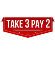 take 3 pay 2 red banner vector image vector image