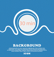 thirty minutes sign icon Blue and white abstract vector image
