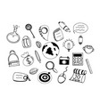 travel doodle icons hand made sketch line art vector image
