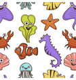 underwater animals and plants cartoon characters vector image vector image