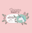 unicorn party invitation card with floral vector image vector image
