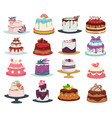 wedding and birthday cakes isolated dishes vector image vector image