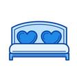 wedding bed line icon vector image vector image