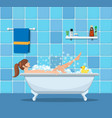 woman taking a bath vector image