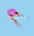 women in bikini swimsuit swim in inflatable rings vector image vector image