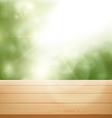 wooden table on background of trees vector image vector image