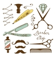 Vintage barber shop objects collection vector image