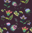 Beautiful dark floral seamless pattern vector image