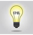 Abstract single lit up bulb icon with idea concept vector image vector image