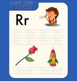 alphabet tracing worksheet with letter r and r vector image vector image