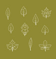 autumn leaf icon set vector image vector image