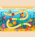 boardgame template with under the sea background vector image vector image