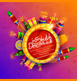 burning diya on diwali holiday background for vector image vector image