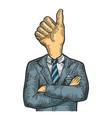 businessman thumb up head sketch engraving vector image