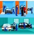 Car Wash Service 2 Flat Banners vector image vector image