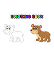 cartoon bear coloring book isolated on white vector image