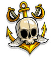 cartoon skull with anchor and crossed swords vector image vector image