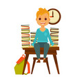 children in school boy sitting at desk with books vector image