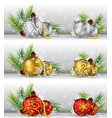 christmas background with pine cone ball and fir vector image vector image
