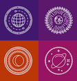 cosmic signs and line icons vector image vector image