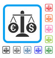 currency scales framed icon vector image vector image
