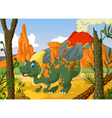 Cute parasaurolophus cartoon with volcano
