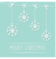 Four hanging snowflakes with dash line bows blue vector image vector image
