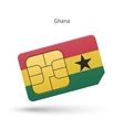 Ghana mobile phone sim card with flag vector image vector image
