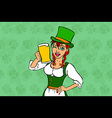 Girl elf green costume St Patrick day vector image