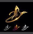 golden duck monogram initial letter d vector image vector image
