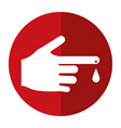 hand blood drop symbol shadow vector image vector image