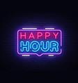 happy hour neon sign design template happy vector image vector image